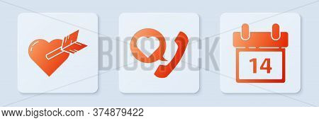 Set Telephone With Heart Speech Bubble, Amour With Heart And Arrow And Calendar With February 14. Wh