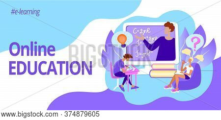 Banner For Web Page Template. Gorizontal Header For Website. Online Education And E-learning. Teache