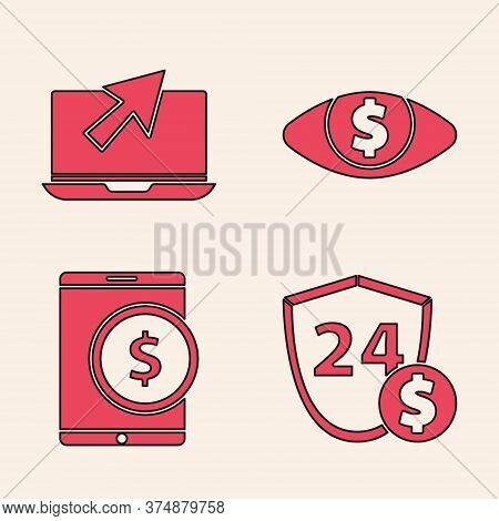 Set Shield With Dollar, Laptop And Cursor, Eye With Dollar And Tablet With Dollar Icon. Vector