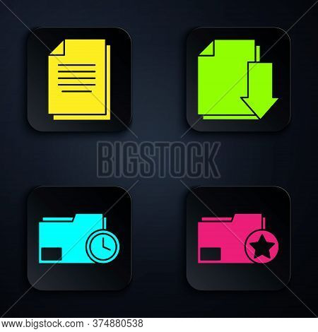 Set Document Folder With Star, Document, Document Folder With Clock And Document With Download. Blac