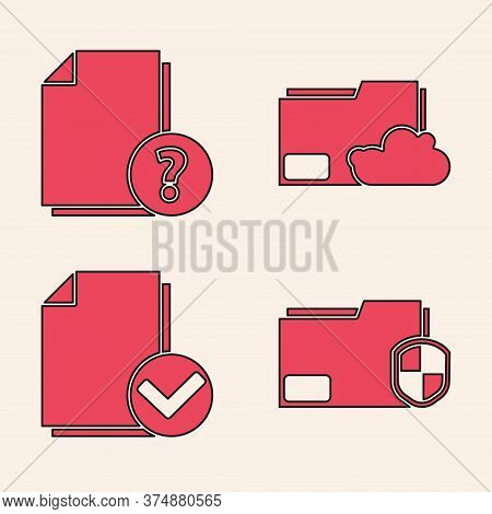 Set Document Folder Protection, Unknown Document, Cloud Storage Text Document Folder And Document An