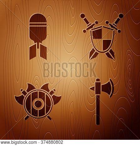 Set Medieval Axe, Aviation Bomb, Medieval Shield With Crossed Axes And Medieval Shield With Crossed