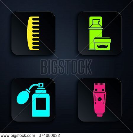 Set Electrical Hair Clipper Or Shaver, Hairbrush, Aftershave Bottle With Atomizer And Shaving Gel Fo