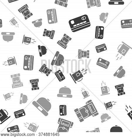 Set Credit Card, Hiking Backpack, Cup Of Tea With Tea Bag And Beanie Hat On Seamless Pattern. Vector