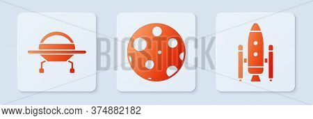 Set Moon, Ufo Flying Spaceship And Space Shuttle And Rockets. White Square Button. Vector