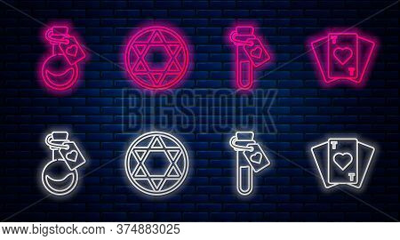 Set Line Star Of David, Bottle With Love Potion, Bottle With Love Potion And Playing Cards. Glowing