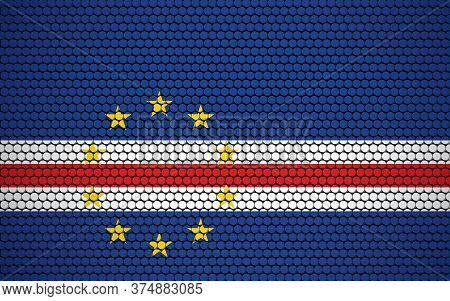 Abstract Flag Of Cape Verde Made Of Circles. Cape Verdean Flag Designed With Colored Dots Giving It