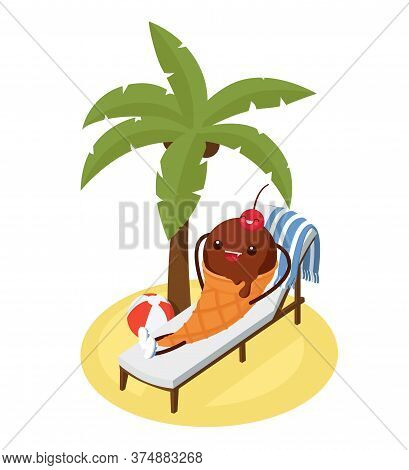 Funny Ice Cream Character Lying On A Beach Lounger Under A Palm Tree. Chocolate Ice Cream Cone With