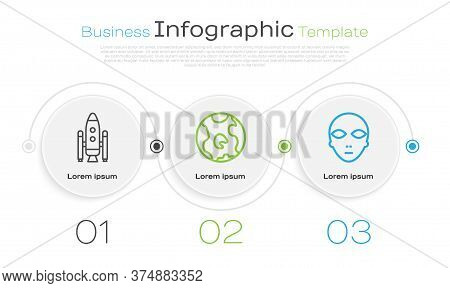 Set Line Space Shuttle And Rockets, Earth Globe And Alien. Business Infographic Template. Vector