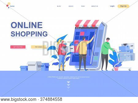 Online Shopping Flat Landing Page Template. Shopping Mobile Application, People With Purchases Situa