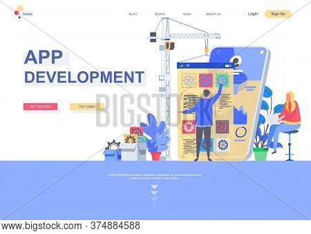 App Development Flat Landing Page Template. Front End And Back End Development, Developer Create Mob