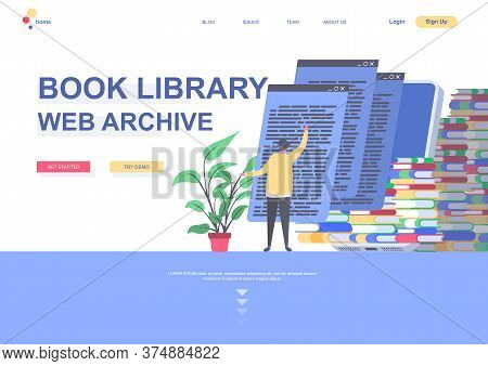 Book Library Web Archive Flat Landing Page Template. Distance Education And Knowledge, Reading Books