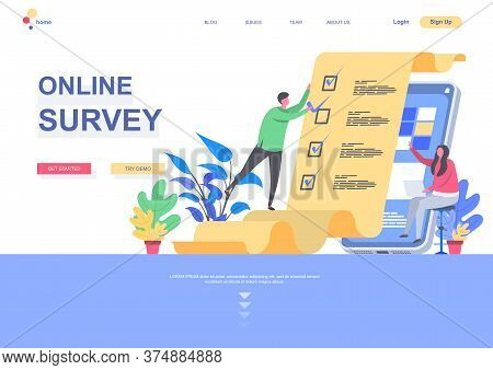 Online Survey Flat Landing Page Template. Internet Interview And Voting Service, Man Completing Chec