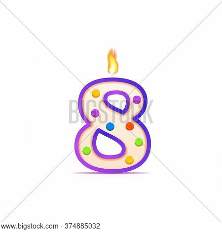 Eight Years Anniversary, 8 Number Shaped Birthday Candle With Fire On White