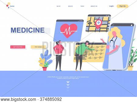 Medicine Flat Landing Page Template. Cardiology Practice, Doctor Online Consultation By Smartphone S