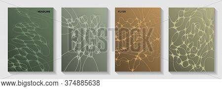 Biotechnology And Neuroscience Vector Covers With Neuron Cells Structure. Dynamic Waves Fusion Backd