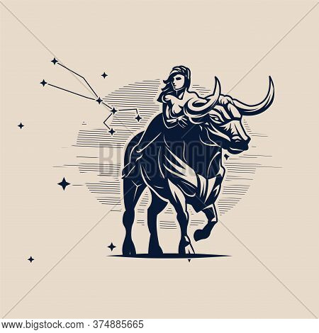 Sign Of The Zodiac Taurus. A Woman Is Riding A Bull. Constellation Of Taurus. White Background. Vect