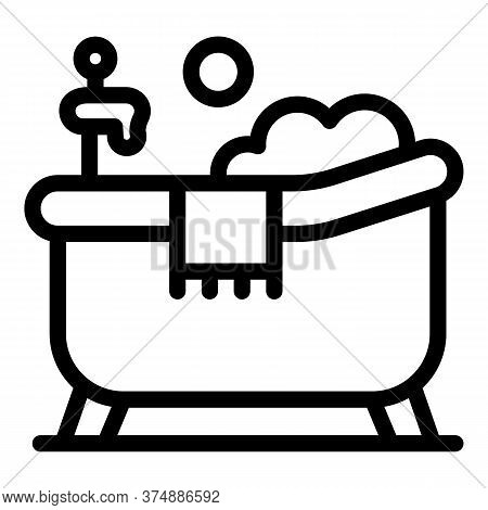 Home Bathtub Icon. Outline Home Bathtub Vector Icon For Web Design Isolated On White Background