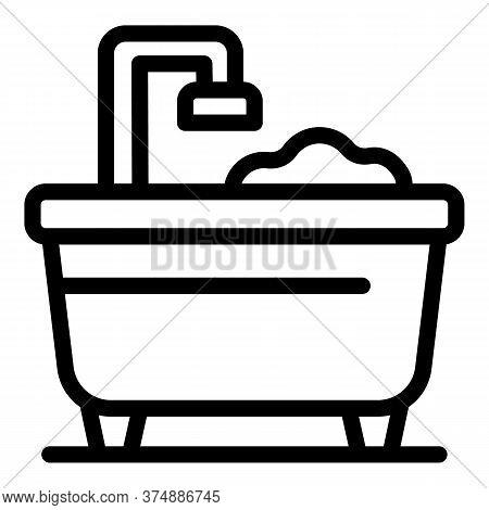 Soap Bubble Bath Icon. Outline Soap Bubble Bath Vector Icon For Web Design Isolated On White Backgro