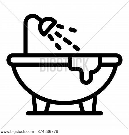 Leaking Bathtub Icon. Outline Leaking Bathtub Vector Icon For Web Design Isolated On White Backgroun