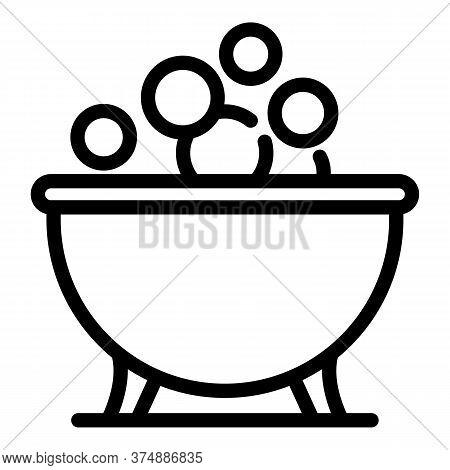 Porcelain Bathtub Icon. Outline Porcelain Bathtub Vector Icon For Web Design Isolated On White Backg