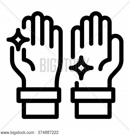 Shiny Clean Hands Icon. Outline Shiny Clean Hands Vector Icon For Web Design Isolated On White Backg