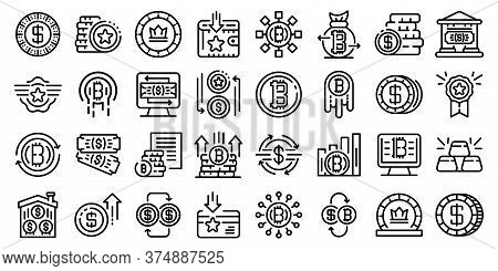 Tokens Icons Set. Outline Set Of Tokens Vector Icons For Web Design Isolated On White Background