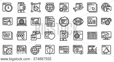 Browser Icons Set. Outline Set Of Browser Vector Icons For Web Design Isolated On White Background