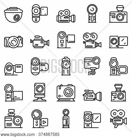 Camcorder Icons Set. Outline Set Of Camcorder Vector Icons For Web Design Isolated On White Backgrou