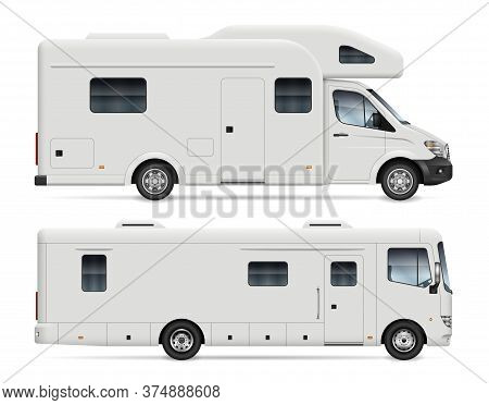 Motorhome Side View Vector Mockup On White Background For Vehicle Branding, Corporate Identity. All