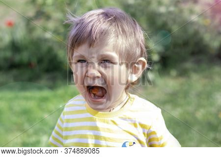 Portrait Of A Pretty Boy With Candy In His Mouth On A Summer Day. A Child Of Two Years Old Opened Hi