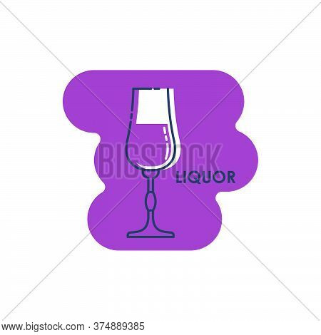 Wineglass Liquor Line Art In Flat Style. Isolated On Colored Shape As Background. Restaurant Alcohol