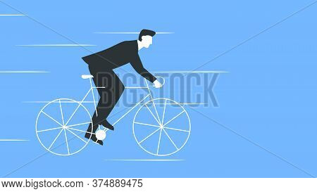 Vector Illustration Of A Businessman In A Suit Riding A Bicycle. Man In Suit Riding A Bike Fast. Rep