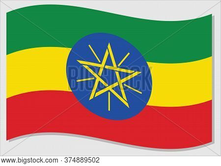 Waving Flag Of Ethiopia Vector Graphic. Waving Ethiopian Flag Illustration. Ethiopia Country Flag Wa