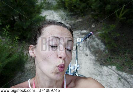 Funny Girl Make Selfie. Image Of Excited Happy Young Woman Outdoor Make Selfie Camera. Having Fun Ta