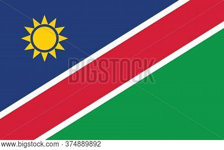Namibia Flag Vector Graphic. Rectangle Namibian Flag Illustration. Namibia Country Flag Is A Symbol