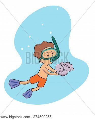 Cartoon Little Boy Wearing Special Mask Diving. Child Holding Sea Shell. Underwater Exploration. Sum