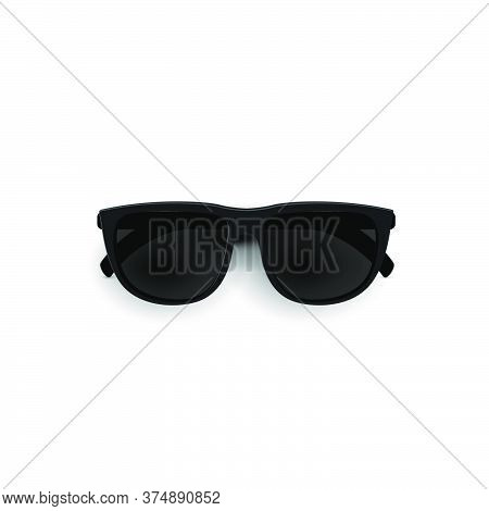 Black Sunglasses, Top View. Stylish Sunglasses Realistic 3d Glasses Isolated On A White Background