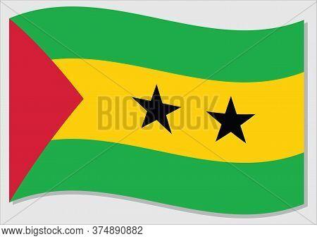 Waving Flag Of Sao Tome And Principe Vector Graphic. Waving Sao Tomean Flag Illustration. Sao Tome A