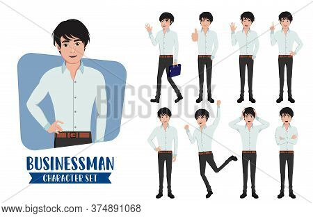 Businessman Young Character Vector Set. Business Man Characters In Different Standing Pose And Gestu