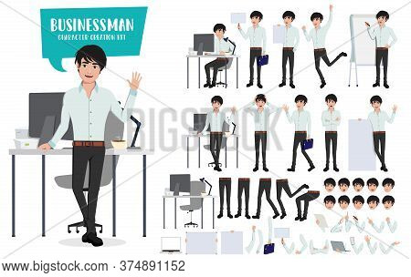 Businessman Character Creation Kit And Vector Set. Business Man Young Asian Male Characters Office E
