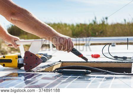 Rv Solar Panel Installation. Caravan Roof Repair