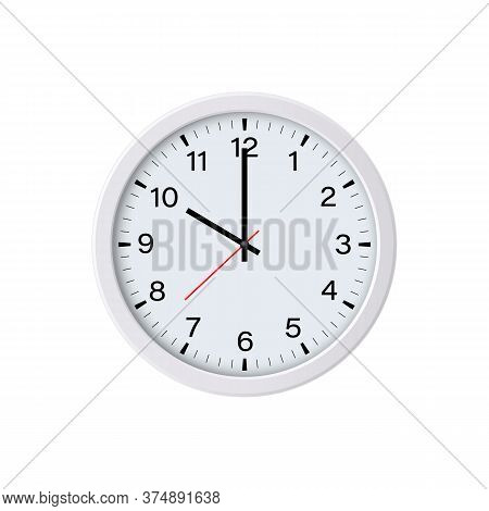 Circle Clock Face Isolated On White Background. 10 O'clock. Vector Illustration