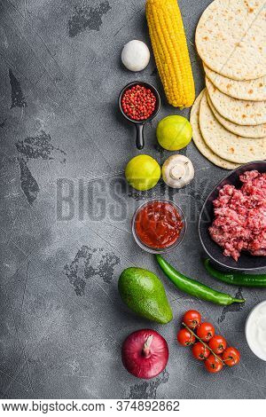 Traditional Homemade Taco Ingredients With Meat,salsa, Peppers, Tomatoes, Avocado , Corn, Tortilla O