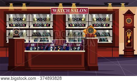 Empty Watch Salon Shop Showcases Flat Interior Design. Fashion, Stylish Wristwatch Collection Presen