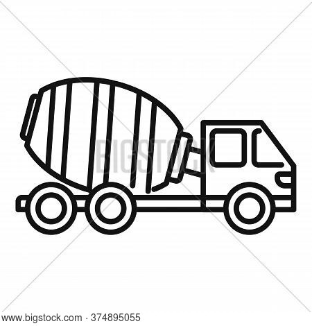 Cement Mixer Truck Icon. Outline Cement Mixer Truck Vector Icon For Web Design Isolated On White Bac
