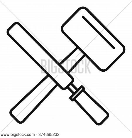 Reconstruction Hammer Tools Icon. Outline Reconstruction Hammer Tools Vector Icon For Web Design Iso