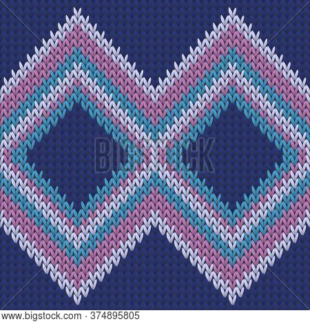 Clothing Rhombus Argyle Knitted Texture Geometric Vector Seamless. Scarf Knitwear Structure Imitatio
