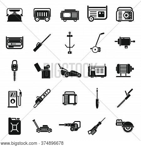 Garden Gasoline Tools Icons Set. Simple Set Of Garden Gasoline Tools Vector Icons For Web Design On
