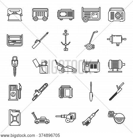 Modern Gasoline Tools Icons Set. Outline Set Of Modern Gasoline Tools Vector Icons For Web Design Is